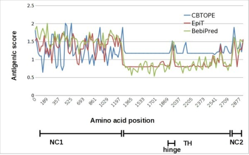 In silico analysis of B cell epitopes on human collagen VII. Linear and conformational antigenic determinants of collagen VII were analyzed in silico using BepiPred (http://www.cbs.dtu.dk/services/BepiPred/), CBTOPE (http://www.imtech.res.in/raghava/cbtope) and the Predictor component of Epitope Toolkit (EpiT; http://ailab.cs.iastate.edu/bcpreds/). The antigenic scores are plotted for the entire sequence of human collagen VII. The different regions of the autoantigen, including its non-collagenous (NC) 1 and 2 domains as well as the triple helical (TH) and hinge regions are shown in the lower part of the figure.