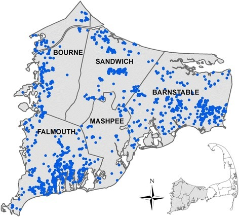 Residential location at the time of birth for 1256 study participants born on Upper Cape Cod, MA from 1969 to 1983. Locations have been altered to preserve confidentiality