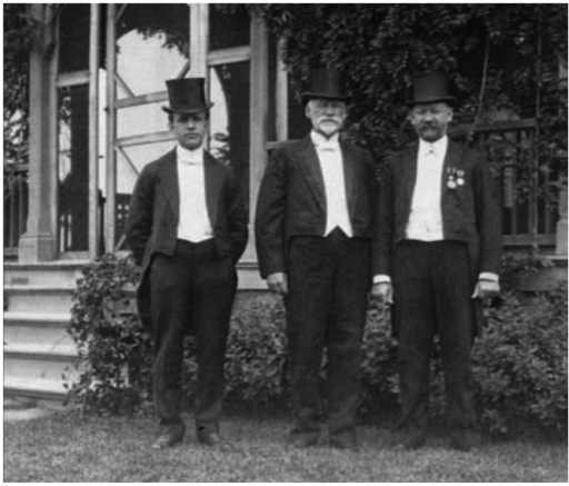 Louis H. Severance (middle), Dr. Alfred I. Ludlow (left), and Dr. Oliver R. Avison (right) in front of Severance Hospital in 1907.