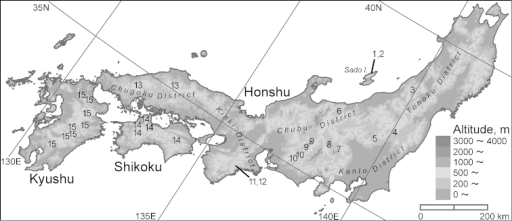 The distribution of Nebria (Sadonebria) spp. in the Japanese Archipelago; Nebriachinensis Bates, which is distantly related to the remaining species, and samples that are not identified by genital morphology are not included [modified from Sasakawa and Toki (2011)]. 1Nebriasadonasadona Bates 2Nebriasaeviens Bates 3Nebriaasahina Sasakawa 4Nebrianasuensis Sasakawa 5Nebriasadonaleechi Bates 6Nebriaquinquelobata sp. n. 7Nebriachichibuensis Sasakawa 8Nebriayatsugatakensis sp. n. 9Nebriakiso Sasakawa 10Nebriamikawa Sasakawa 11Nebriasadonaohdaiensis Nakane 12Nebriatenuicaulis Sasakawa & Kubota 13Nebriajakuchisana Sasakawa 14Nebriashikokuensis Sasakawa; 15: Nebriatrifida Sasakawa.