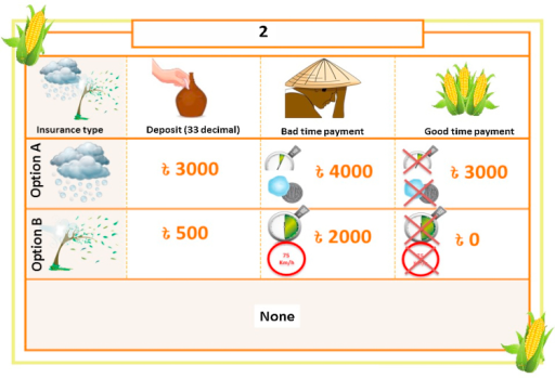 Example of a choice experiment question format shown to farmers (hail or windstorm crop damage).