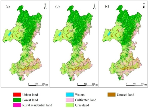 Land use classification results in the study area: (a) land use in 2000; (b) land use in 2005; (c) land use in 2010.