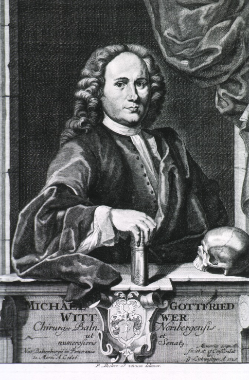 <p>Seated, right pose, hand on book.  Skull on pedestal which carries German inscription.  Coat-of-arms, curtain background.</p>