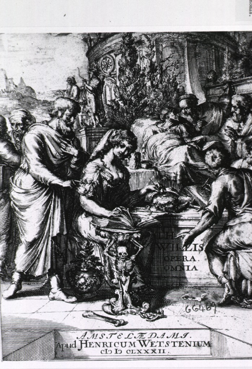 <p>Aesculapius stands next to Hygeia as she engraves a plate with an illustration from a book; on the right is a man illustrating a text; in the background a physician consults with a patient at bedside.</p>