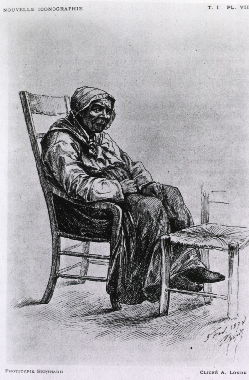 <p>Old woman with Parkinsonism sitting in chair; rigidity of left hand is evident.</p>