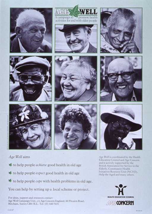<p>Light green poster with black and white lettering.  Title at top of poster.  Dominant visual image is an array of b&amp;w photo reproductions, arranged in three rows and three columns.  The photos show the faces of a diverse group of older people.  Caption, co-publisher address, and list of sponsors at bottom of poster.</p>