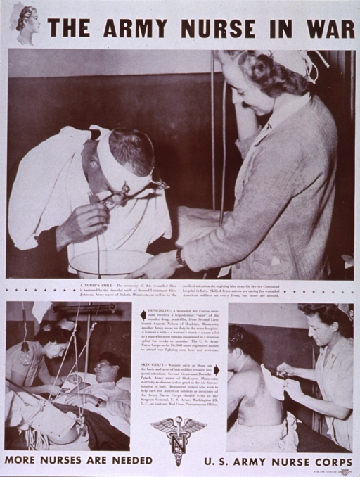 <p>White poster with black lettering.  Title at top of poster, along with an illustration of a nurse's head in profile.  Visual images are reproductions of b&amp;w photos showing nurses at an Air Services Command hospital in Italy.  Photo in upper portion of poster features a nurse holding a basin in front of a flier with a head or facial wound.  Smaller photos in lower portion of poster depict a nurse administering a penicillin injection to a crewman who is in traction and a nurse re-dressing a skin graft on a soldier's back.  Each photo has a caption naming the nurse, her home town, and the procedure shown, as well as a statement about the role of nurses.  Note, seal of the Army Nurse Corps, and publishing information at bottom of poster.</p>