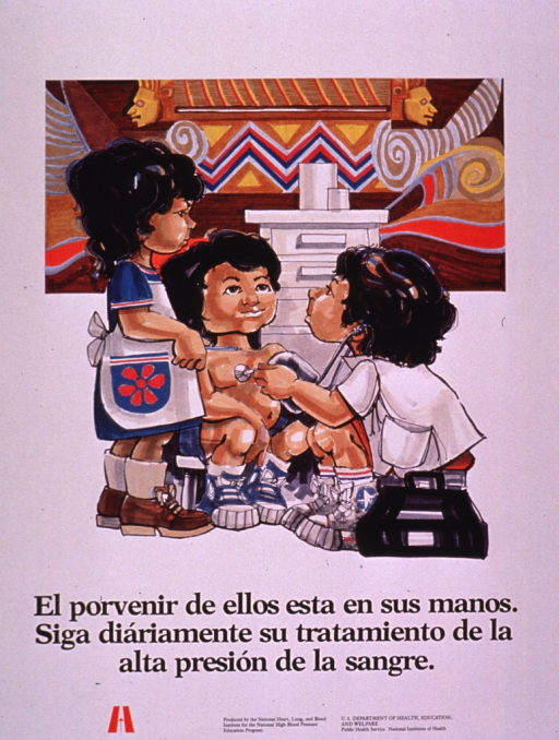 <p>Predominantly white poster with black lettering.  Visual image is a color illustration of three children playing doctor.  One child holds a stethoscope to another's chest.  A third child stands nearby, holding a thermometer.  A design suggestive of pre-Columbian art is prominent in the background.  Title and publisher information below illustration.</p>