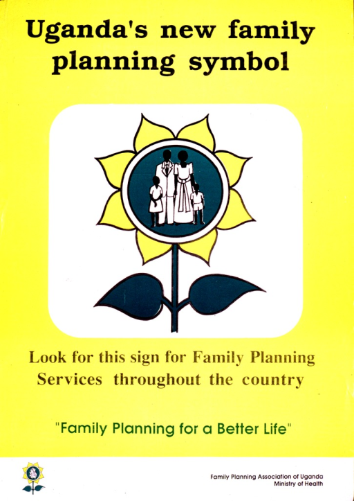 <p>Predominantly yellow poster with black and green lettering.  Title at top of poster.  Visual image is an illustration of the new symbol, a yellow flower with a four-member family in the center.  Caption below illustration, note below caption.  Publisher information in lower right corner.</p>