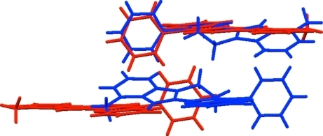 Overlay of the title compound with its hydrogenated counterpart (Sridharan et al., 2009b). The chlorobenzene part of the top molecule was used to define the overlay of the two compounds. The other molecules are created by the symmetry operations of their respective structures.
