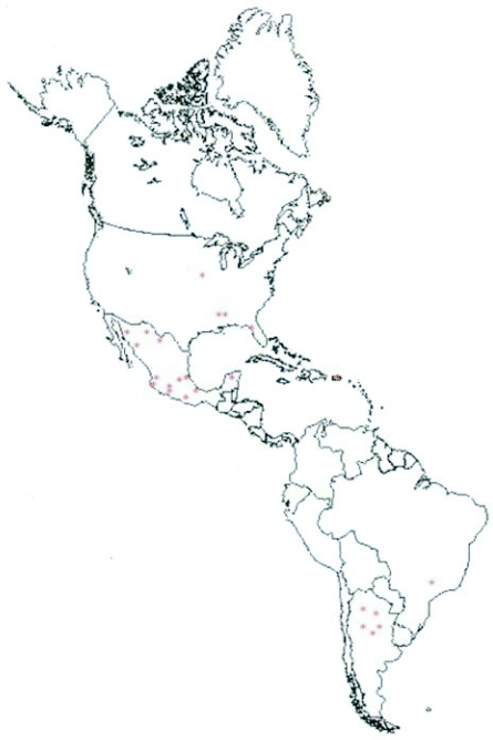 Map Of The Western Hemisphere Red Asterisks Represent Openi - Black and white map of western us