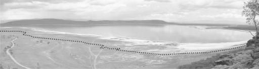 Photo of Lake Nakuru from the Baboon Cliff (southwest of the lake) in October 2009, the dotted line showing the shoreline in June 2008.