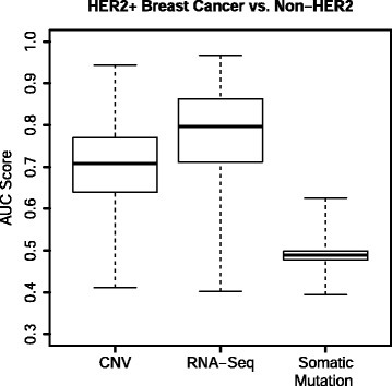 AUC scores for each omic type from the HER2 analysis. GSOA was applied to various types of omic data from TCGA. HER2+ breast cancer samples were compared against HER2− samples. Predictions based on RNA-sequencing data attained the highest accuracy