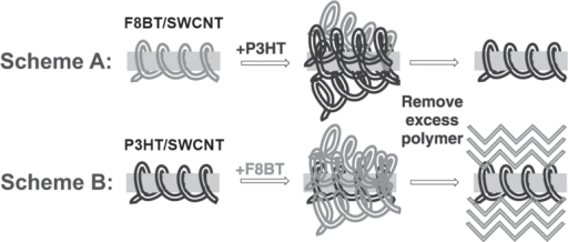 Scheme A shows excess P3HT being added to F8BT/SWCNT. Three days after the addition of excess polymer, any unbound polymer is removed to give P3HT/SWCNT. In Scheme B, the addition of F8BT in P3HT/SWCNT gave P3HT/SWCNT. Reproduced with permission from S D Stranks et al 2013 Adv. Mater.25 4365. Copyright 2013 John Wiley and Sons.