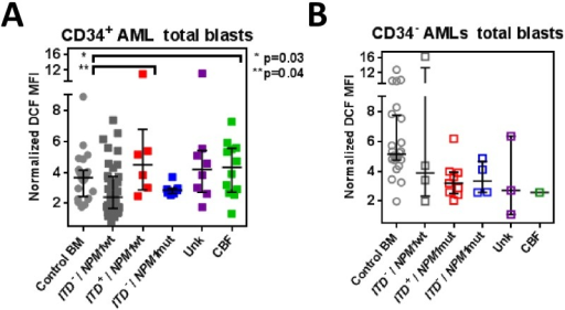 ROS levels in blast cells of different AML sub-groups.DCF levels in AML blasts (gated by CD45/SSC/CD117/CD34). Data is shown for total CD34+ blasts in CD34+AMLs (n = 70) (A) and total CD34− CD117+ blasts in CD34− AMLs (n = 23) (B) compared to the equivalent blast subset of control BMs (n = 24). AML samples, except for CBF-AMLs (CD34+, n = 12; CD34−, n = 1), were grouped according to Flt3ITD+/NPM1 mutational status: ITD−/NPM1wt, (CD34+, n = 37; CD34−, n = 4), ITD+/NPM1wt (all CD34+, n = 6), ITD-–/NPM1mut (CD34+, n = 7; CD34−, n = 4), ITD+/NPM1mut, (all CD34−, n = 9). Unk = represents patient samples lacking mutational data.