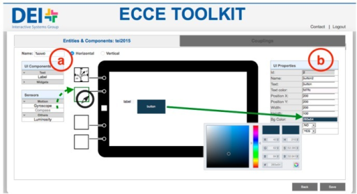 A screenshot of the web interface for editing off-the-shelf devices with a display screen. User can (a) add sensors and interface elements from a palette, and (b) configure the properties of digital elements on the screen.