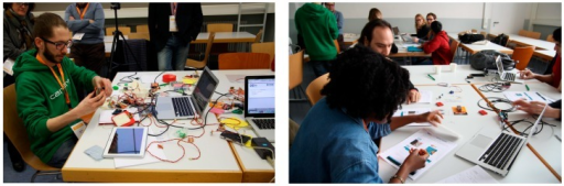 Hands-on experiences with the ECCE toolkit at the TEI studio. On the left, one of the organizers preparing a demonstration of the toolkit. On the right, participants going through the Arduino/Tinkerkit tutorial.
