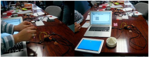 The implementation of a design idea with ECCE during the second workshop: (left) a participant connecting the sensors and, (right) the final implementation.