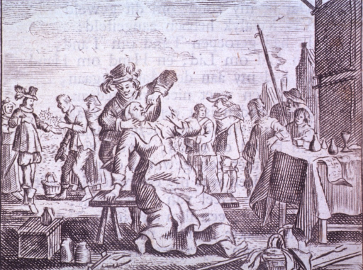 <p>A woman, sitting on a bench in a market place, is having a tooth extracted; in the background, various market-day activities are being conducted.</p>