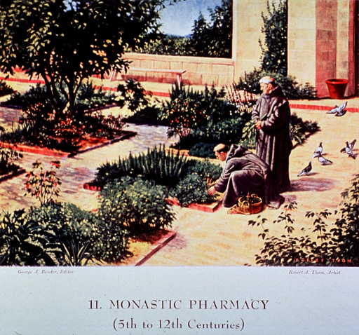 <p>Showing two monks gathering herbs from the garden.</p>