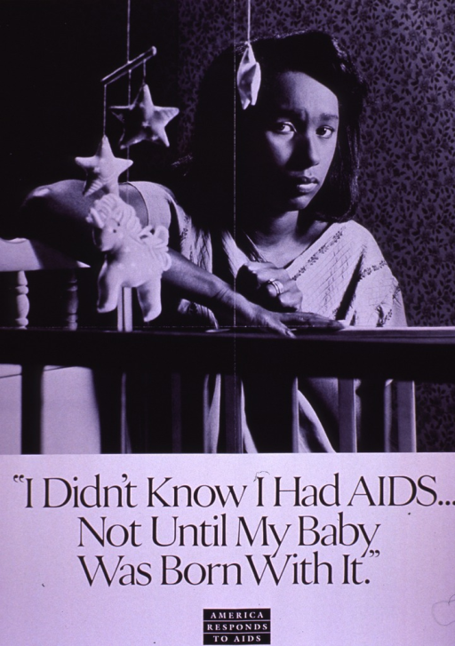 <p>Black and white poster.  Visual image is a b&amp;w photo reproduction featuring a woman leaning against a crib.  A mobile hangs above the crib.  Title below photo.  Note at bottom of poster.</p>