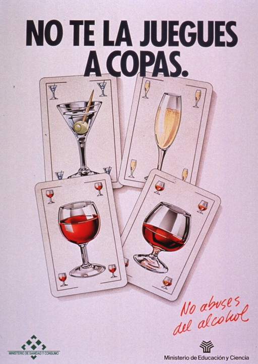 <p>Predominantly white poster with multicolor lettering.  Title at top of poster.  Title makes a pun on the word &quot;copas,&quot; which can mean both glasses or cups and the card suit hearts.  Visual image is an illustration of four playing cards.  Each card features a different type of drink including a martini, champagne, wine, and brandy.  Note text near lower right corner.  Publisher information at bottom of poster.</p>