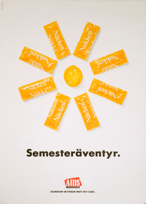 <p>Predominantly white poster with black and white lettering.  Visual image is a color photo reproduction showing bright yellow condom wrappers and a condom arranged to suggest the sun and its rays.  Title below photo refers to a &quot;semester adventure,&quot; possibly akin to a semester break.  Publisher information and note at bottom of poster.  Note states that condoms protect against HIV/AIDS.</p>