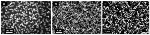 SEM images of PtSi-catalyzed Si NW grown for 30 min at various temperatures: (a) 500°C, (b) 700°C, (c) 800°C. PSiH4 is held constant at 60 mTorr. The NW grown at 700 and 800°C show a tapered shape, whereas the diameter of the NW grown at 500°C is constant (45 nm).