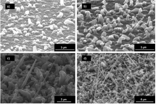 SEM images of NiSi-catalyzed NW grown at 800°C for 10 min with different HCl partial pressures: (a) no HCl, (b) PHCl = 40, (c) PHCl = 100, (d) PHCl = 160 mTorr. The lengths of straight NW are 4 μm for (c) and 8 μm for (d).
