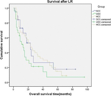 Kaplan-Meier cumulative survival curves of primary SCC,ASC,and HCC group of patients for overall survival(OS)after liver resection.