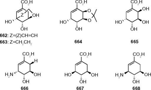 Molecular structures of shikimic acid analogues.