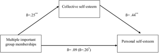 Study 5: the indirect effect of collective self-esteem on the relationship between multiple group memberships and personal self-esteem for University students in the US.Note. *p < .05, **p < .01. Correlations were based on a sample of N = 148. Beta within parentheses represents the direct effect.