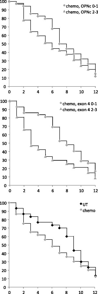 Kaplan-Meier survival curves for patients undergoing chemotherapy. Survival of patients under chemotherapy, distinguished according to low (0–1, diamonds) versus high (2–3, triangles) immunohistochemical markers. Shown are Kaplan Meier curves for osteopontin-c (top panel) or exon 4 (middle panel). For comparison, the survival of all patients treated (gray markers) or not treated (black markers) with chemotherapy is displayed (bottom panel). The x-axis indicates years since diagnosis, the y-axis reflects % surviving patients
