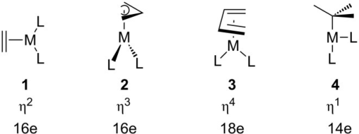 The four coordination geometries for d10 polyene-ML2 complexes along with their hapto numbers and electron count.