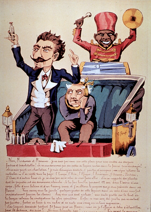 <p>Caricature:  The surgeon-dentist (Georges Fattet), stands in his carriage selling a bottled painkiller? or other dental remedy; a patient is seated beside him, and a page standing to the rear of the carriage beats a drum.</p>