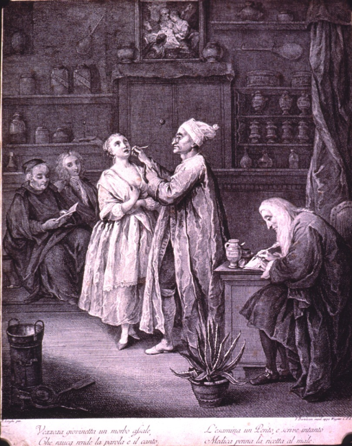 <p>Interior of pharmacy with young lady having her throat examined.</p>