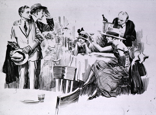 <p>Vignette from larger poster.  Visual:  two young men approach two women at a restaurant.</p>