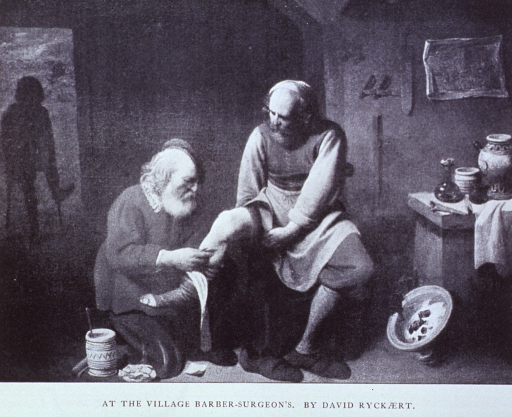 <p>A reproduction of the 17th c. painting by David Ryckaert of a barber surgeon bloodletting.</p>