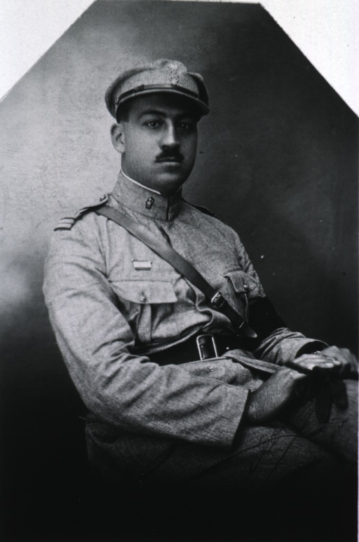 <p>Three-quarter length, seated, right pose, full face; wearing uniform.</p>