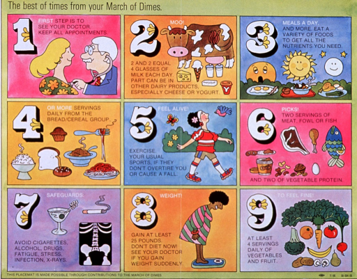 <p>Multicolor poster with black and white lettering.  Poster is a nine-panel series of cartoons that outline steps for good prenatal health and nutrition.  Images include a doctor listening to a woman's heart, a cow surrounded by calcium-rich foods, groups of grains, proteins, and fruits and vegetables, a woman walking, possible sources of harm for the fetus, and a woman weighing herself.</p>