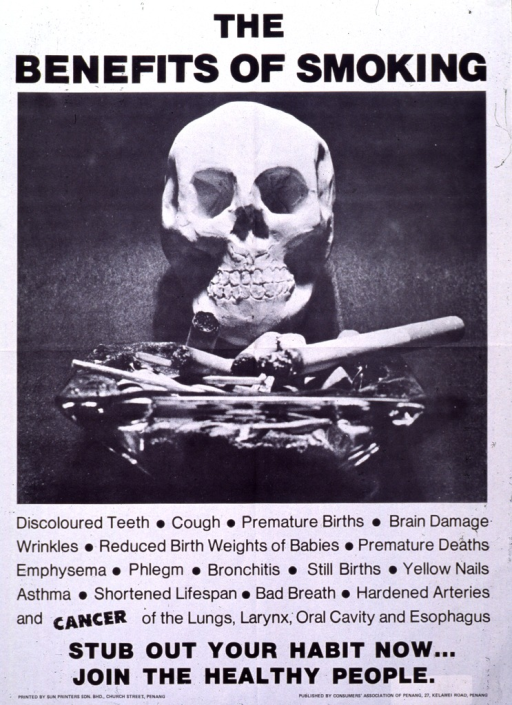 <p>Predominantly white poster with black lettering.  Title at top of poster.  Visual image is a black and white photo reproduction featuring a skull sitting behind an ashtray that overflows with cigarette butts.  List of 20 smoking-related ailments, ranging from discolored teeth through cancer of the lungs, below photo.  Caption below list.  Publisher information in lower right corner.</p>