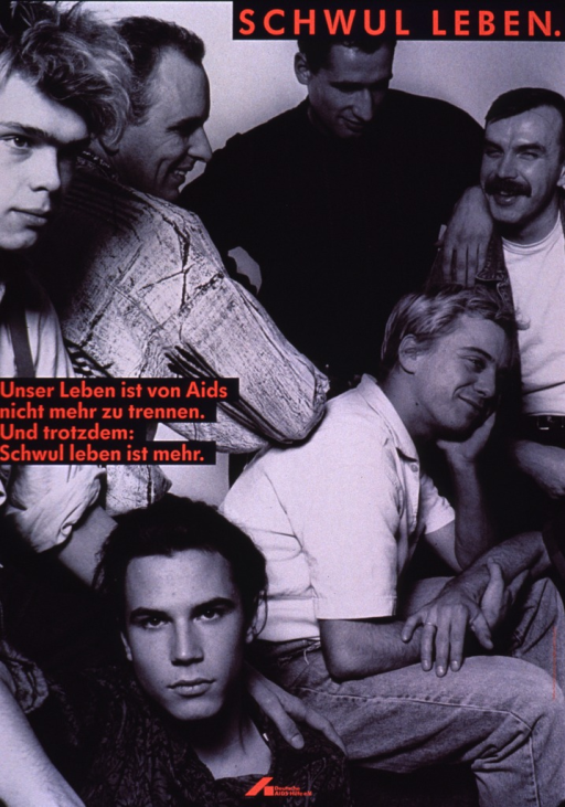<p>Visual is in black and white, covering the entire poster. It is a photo reproduction of a group of men sitting in various poses representing various age groups. The title, title caption, and publishing information are in dark pink against a dark blue background.</p>