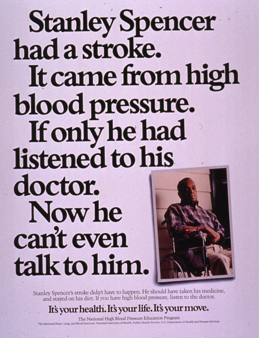 <p>Predominantly white poster with black lettering.  Title dominates poster.  Visual image is a color photo reproduction featuring a man sitting in a wheelchair.  Caption below photo; note below caption.  Publisher information at bottom of poster.</p>
