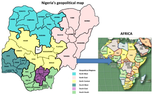 Geopolitical map of Nigeria.Abbreviation: FCT, Federal Capital Territory.