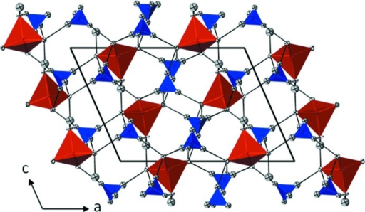 Projection of the crystal structure along [010]. AsO4 tetrahedra are red, NH4 tetrahedra are blue, O atoms are white, and H atoms are grey. Atoms are displayed with displacement ellipsoids at the 50% probability level. H···O hydrogen bonds are displayed with black lines.
