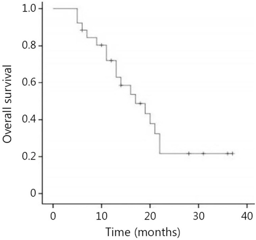 Overall survival of patients with persistent or recurrent disease.