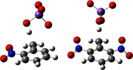 Transition state structures of methyl group oxidation in modeled oxidation reactions of 2-nitrotoluene and 2,6-dinitrotoluene with permanganate