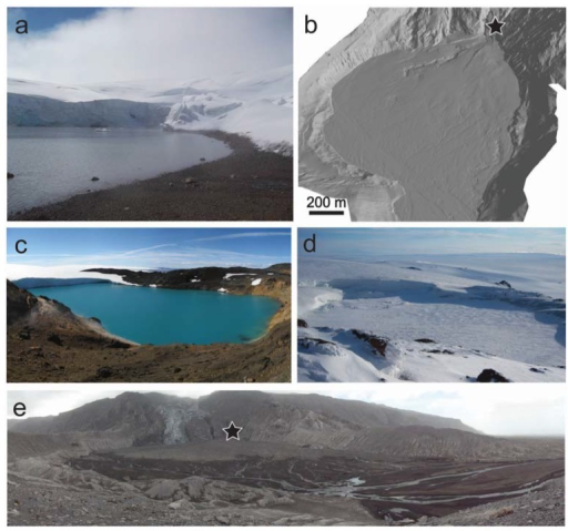 Examples of lacustrine environments and deposits. (a) Subaerial lake Kverkfjallalón (2011) surrounded by sulfate and smectite-rich sediment [41]; (b) Hillshaded terrestrial laser scanner image of the sediment fan at Gígjökulslón, 2010 following the eruption of Eyjafjallajökull (image credit: Stuart Dunning) [60]; (c) Galtarlón, ice free, July 2007 (image credit: Katherine Joy), lake approximately 300 m across at its widest point; (d) Galtarlón, ice covered, June 2011 (image credit: Barry Herschy); (e) Oblique view of the Gígjökulslón sedimentary fan looking towards the fan source, marked by black star (image credit: Stuart Dunning, [60]).