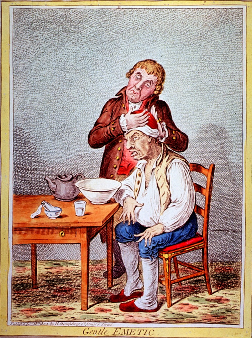 <p>A bloated-looking man is sitting on a chair, his arm resting on a table on which are a basin, teapot, glass, and a small bottle; a man standing next to him is massaging his head.</p>