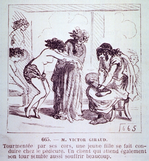 <p>A man is offering the services of a partially dressed masseuse by thrusting her hands before a man sitting on a chair rubbing his ankle.</p>
